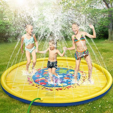 Amazon Com Splash Pad 69 Inches No More Burst Sprinkle And Splash Play Mat Sprinkler For Kids Boys Girls Fun Splash Pla In 2020 With Images Water Toys Water Party Summer Outdoor