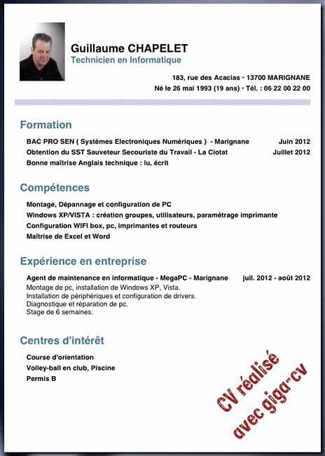 Cv Type Sans Experience Professionnelle Cv Anonyme Lettre De Motivation Ecole Lettre De Motivation Exemple Cv