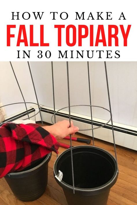 Check out this simple fall topiary hack idea. Make this diy fall topiary for your front door on a budget. Easy and cheap fall decor idea for front door. #hometalk