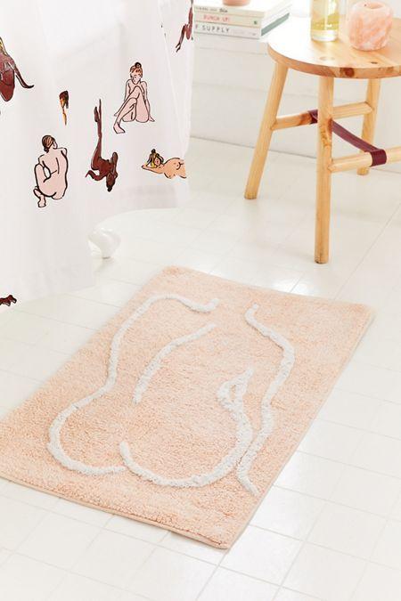 Bathing Beauty Bath Mat, Peach Bathroom Rugs