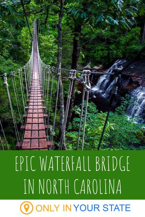 If you're up for a scenic adventure, cross this swinging waterfall bridge in North Carolina. You'll also enjoy the thrill of ziplines on this outdoor nature tour. Road Trip Destinations, Vacation Places, Vacation Spots, Places To Travel, Travel Things, Vacation Packages, North Carolina Vacations, North Carolina Camping, South Carolina