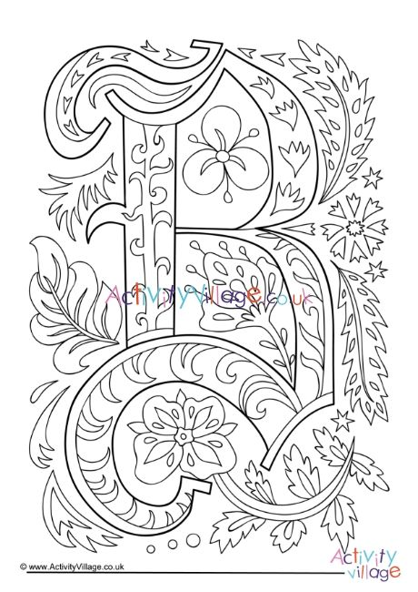 Illuminated Letter B Colouring Page Letter B Coloring Pages Monogram Art Coloring Pages