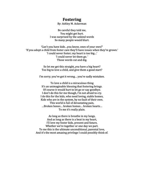 Laminated Gift Personalised Poem FOSTER PARENT GIFT