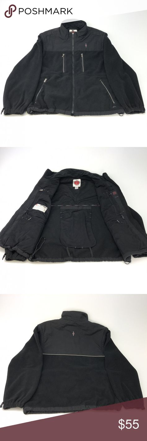 Scottevest Tec convertible jacket large INV#G9-4-12  Description: Scottevest Tec convertible jacket Brand: Scottevest Style: convertible jacket Sleeve: long / detachable Size: tagged as a large but please view measurements below Color: black Condition: Pre-owned - nice condition, normal wear from use, see pics  The measurements are as follows laying flat:  1. Back shoulder seam to seam - 17 inches 2. Arms - 25 inches 3. Under arm to Under arm - 24 inches 4. Top to bottom - 27 inches Scottevest J