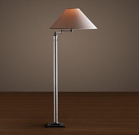 French Column Glass Swing Arm Floor Lamp | Swing arm floor