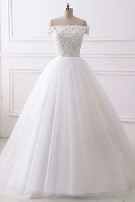 Bridesfamily Charming Tulle Off-the-shoulder Neckline Ball Gown Wedding Dress With Beaded Lace Appliques#appliques #ball #beaded #bridesfamily #charming #dress #gown #lace #neckline #offtheshoulder #shoulder #tulle #wedding