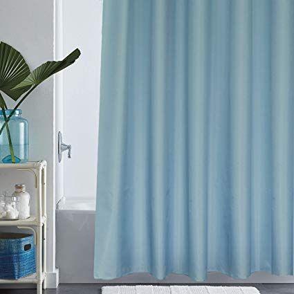 Eforgift Solid Blue Shower Curtain Liner Water Repellent Mildew