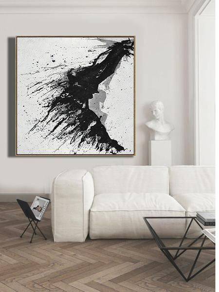 Cz Art Design Hand Painted Minimalist Drip Painting Mn323a Black White Grey Abstract Abstract Art Painting Techniques Drip Painting Abstract Art Painting