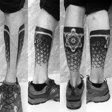Male Tattoo With Metatrons Cube Design - tattoo ideas men -