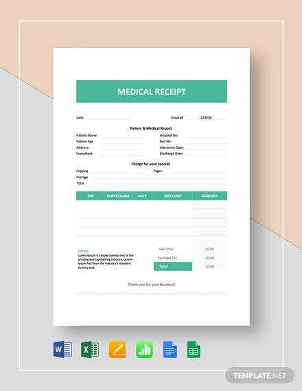 Medical Receipt Template Word Doc Excel Apple Mac Pages Google Docs Google Sheets Apple Mac Numbers Receipt Template Word Doc Templates