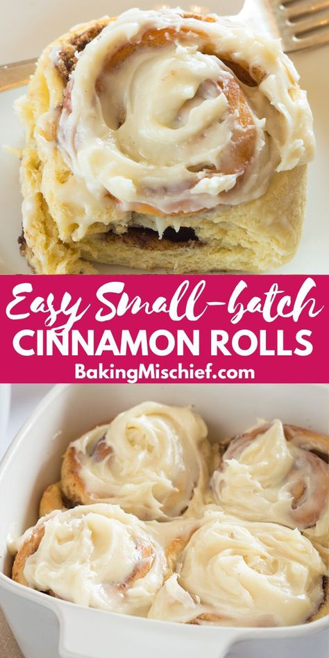 These Small-batch Easy Overnight Cinnamon Rolls are gooey and rich with an outrageously amazing cream cheese frosting. Pioneer Woman Cinnamon Rolls, No Yeast Cinnamon Rolls, Overnight Cinnamon Rolls, Easy Homemade Cinnamon Rolls, Bread Machine Cinnamon Rolls, Recipe For Cinnamon Rolls, Waffle Cinnamon Rolls, Bread Machine Rolls, Köstliche Desserts