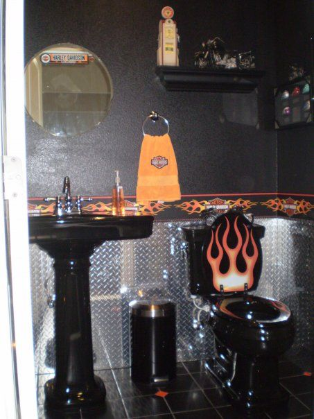 Dont Like The Design But A Bathroom In The Garage Might Be A - Harley davidson bathroom decor for small bathroom ideas