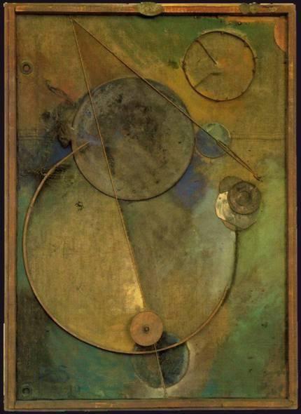 Швиттерс Курт (1887—1948) Вращение . 1919  Холст, дерево, металл, веревки, картон, шерсть, провода, кожа, масло. 122,7 x 88,7 см  Музей современного искусства, Нью-Йорк Дадаизм