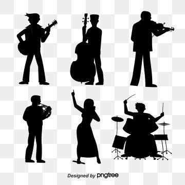 Musicians Silhouette Vector Material Downloadconductor Violin Cello Electric Guitar Png Transparent Clipart Image And Psd File For Free Download Silhouette Vector Music Sketch Silhouette