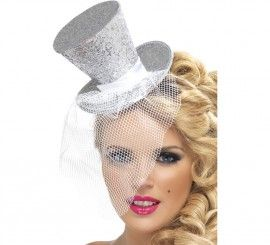 Lentejuelas plata Top Hat Cabaret Circo Ringmaster Fancy Dress Costume Accesorio