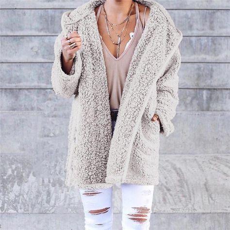Beige Winter Fashion Warm Coat – Joygos #beige #winterfashion #winteroutfits #streetwear #streetstyle