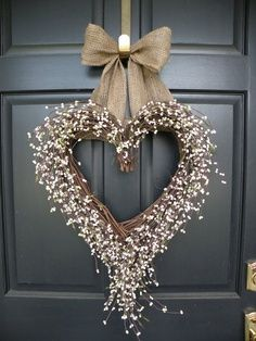 White Berry Shabby Chic Heart Wedding Wreath.....or a red bow and use for Valentine's Day.
