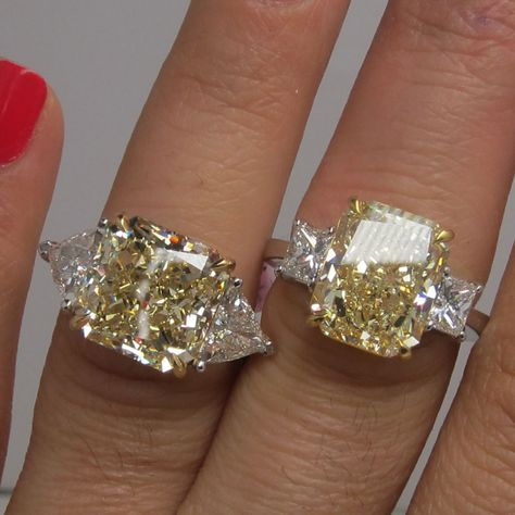 Fancy engagement rings are very popular. Most of the time fancy engagement rings feature a fancy colored diamond such as a canary yellow diamond. Do It Yourself Fashion, Ring Set, Schmuck Design, Colored Diamonds, Yellow Diamonds, Yellow Diamond Rings, Canary Diamond, Emerald Rings, Sapphire Rings