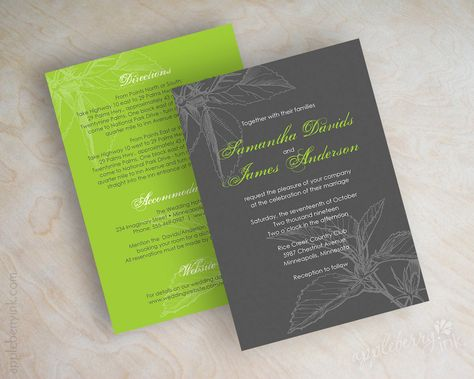 Wedding invitations, floral leaves in charcoal gray an lime green. $59.00, via Etsy.