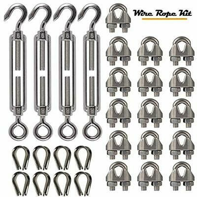 Details About 4 Pcs Turnbuckles Turnbuckle Tension Eye Hook M6 16 Pcs 1 8 Inch Wire Rope Eye Hook Things To Sell Stainless Steel Wire