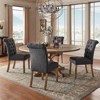Gramercy Button Tufted Dining Chair Wood Charcoal Set Of 2