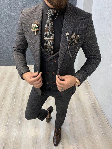 Kenzie Coffee Slim Fit Prince of Wales Wool Suit