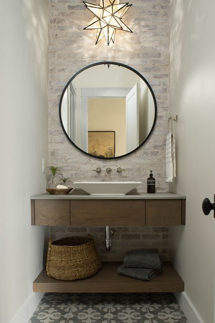 I Like The Simple Floating Vanity And The Floating Shelf Beneath The Plain Round Mirror Is A Perf Powder Bathroom Ideas Powder Room Vanity Modern Powder Rooms