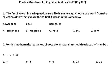 3rd to 4th grade-Free practice questions for the CogAT - aptitude test free