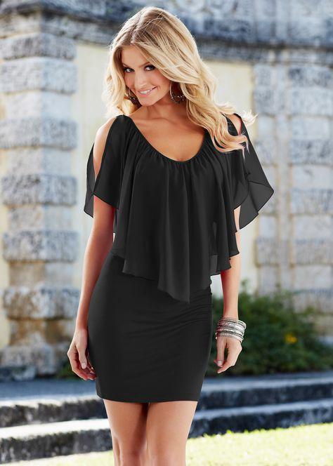 Jurk zwart - BODYFLIRT boutique nu in de onlineshop van bonprix.nl vanaf ? 37.99 bestellen. Romantische en speelse jurk met laag decollete en prachtige ...