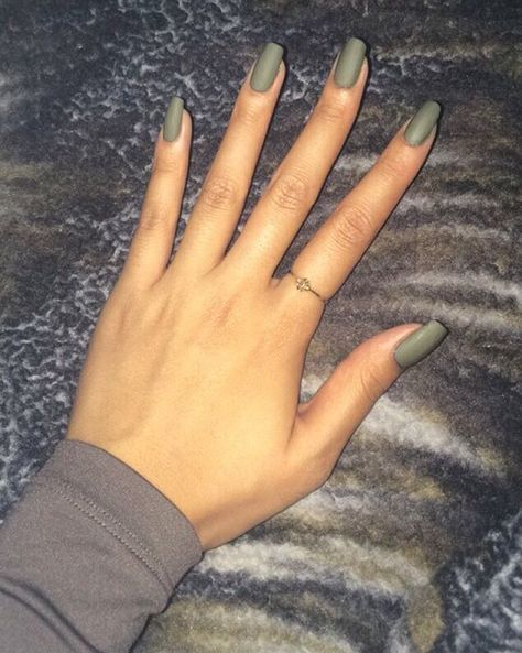 Olive Matte For Those Asking For Nail Color Uh Oh Roll Down The Window Chic Nails Gorgeous Nails Green Nails