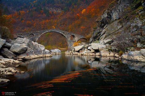 Осенние слезы. The Devil's Bridge in Bulgaria, near Ardino #landscape #bridge #autumn #tears #leaves #water #river #mountain #forest #colors #bulgaria #ardino #nsirakov#landscape #bridge #autumn #tears #leaves #water #river #mountain #forest #colors #bulgaria #ardino #nsirakov Photographer: Nikolay Sirakov