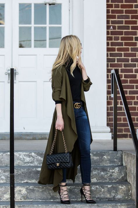 Styling a Utility Duster Jacket: olive green duster jacket with black turtleneck, black Gucci Marmon