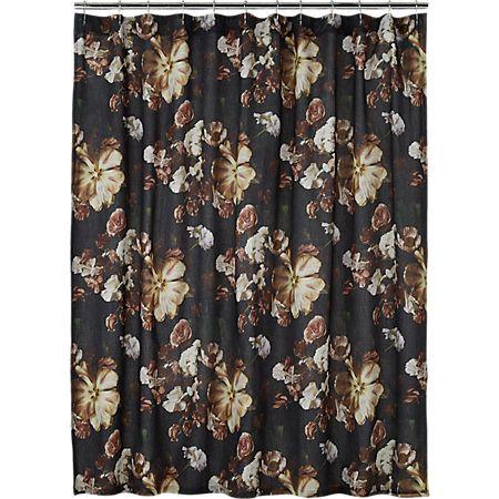 Reese Black Floral Shower Curtain Floral Shower Floral Shower