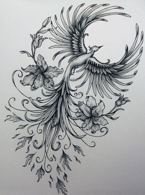 Phoenix original art example of jennifermckayhiggins - Tatoo. Rising Phoenix Tattoo, Phoenix Bird Tattoos, Phoenix Tattoo Design, Phoenix Tattoo Feminine, Feminine Arm Tattoos, Tribal Phoenix Tattoo, Piercings, Piercing Tattoo, Body Art Tattoos