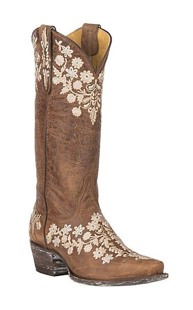 5f27e1f2f83 Cavender's by Old Gringo Women's Tan Goatskin with Embroidery ...