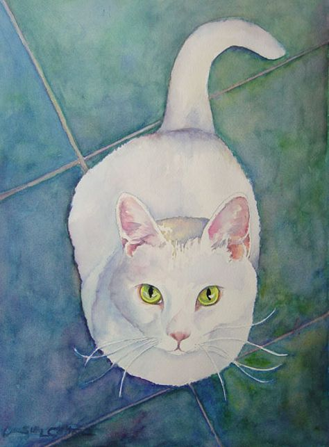 Watercolor Painting of a cat. I had a cat named Snowball that looked just like this; he used to look at me just this way whenever I was eating! A painting or drawing of a cat that really captures the essence of the cat is rare. I like this one. I loved Snowball!
