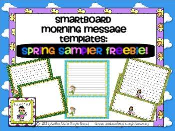 Smartboard Morning Message Templates Free Spring Sampler Morning