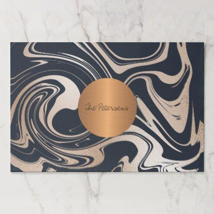 Family Name Tearaway Glam Black Marble Copper Paper Placemat Zazzle Com Copper Paper Placemats Copper And Marble