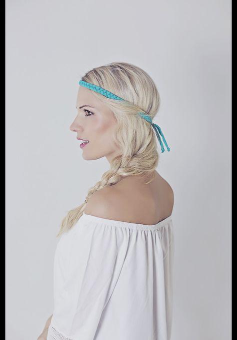 hippie haarband in neonfarben, festival look für den