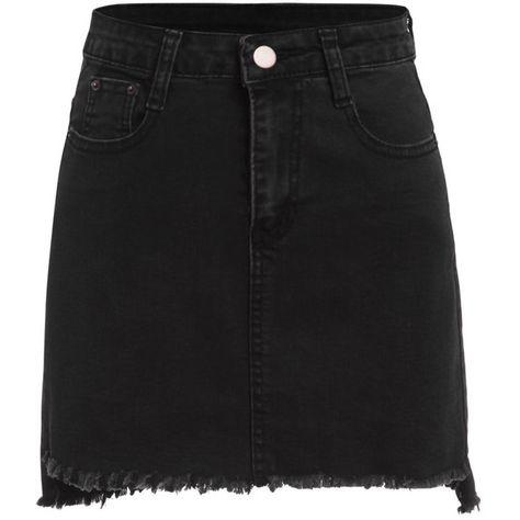 e2da256a3e Black Raw Hem Denim Skirt (155 MXN) ❤ liked on Polyvore featuring skirts  and denim skirt