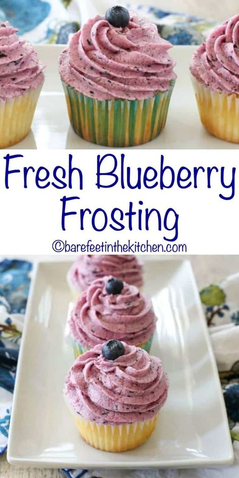 Fresh Blueberry Frosting is delicious on a cake, on a cookie, or even straight off the spoon! get the recipe at barefeetinthekitchen.com