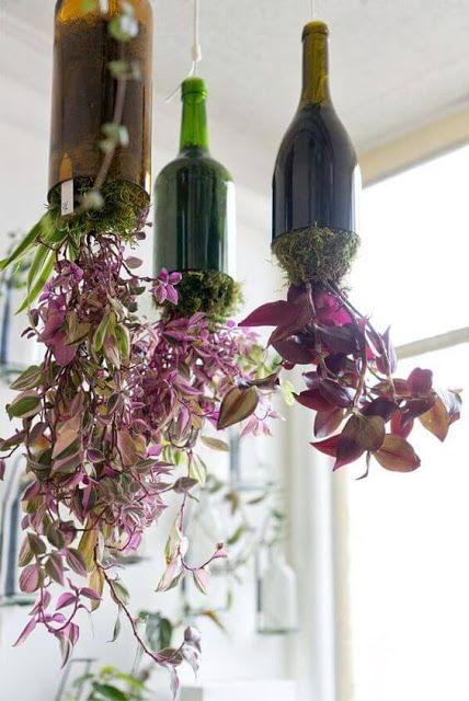 30 idéias para reciclagem com artesanato consumo consciente em 2020 |  Garrafas de vidro, Decoração das plantas da casa, Garrafas de vinho decorado