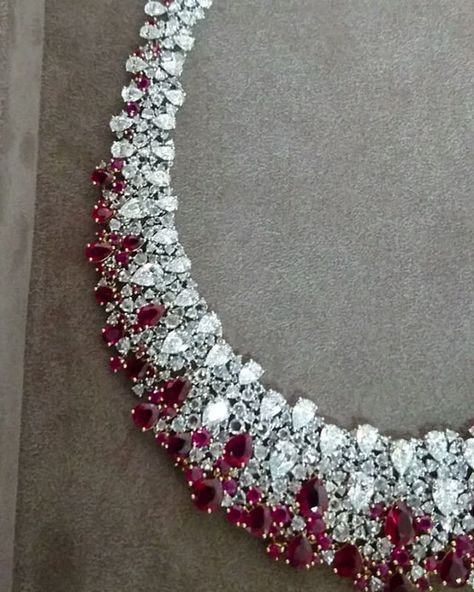 NIRAV MODI A classic with a twist. necklace in white gold set with blood pigeon…