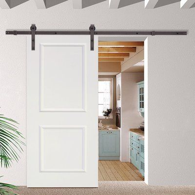 Calhome Paneled Manufactured Wood Primed Classic Barn Door With Installation Hardware Kit Hardware Finish Antique Bronze In 2020 Glass Barn Doors Interior Barn Doors Barn Door Hardware