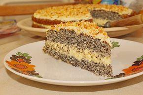 Chefkoch.de Rezept: Illes super schneller Mohnkuchen ohne Boden mit Paradiescreme und Haselnusskrokant