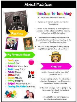 Free Meet The Teacher About Me Editable Template Teacher Brochure Meet The Teacher Teacher