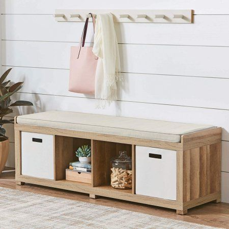 Better Homes And Gardens 4 Cube Organizer Storage Bench Multiple Finishes Walmart Com Entryway Bench Storage Storage Bench Cube Organizer