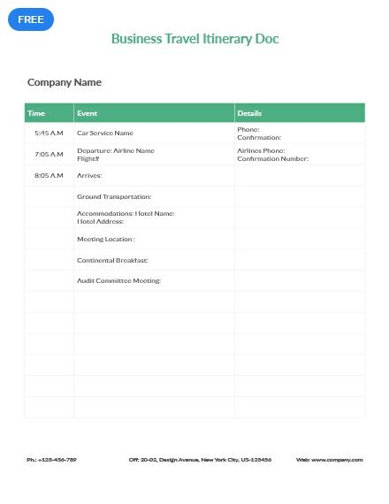 Free Business Travel Itinerary Document Travel Itinerary