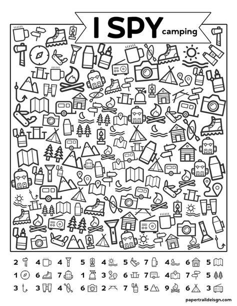 Free Printable I Spy Camping Kids Activity - Paper Trail Design - Free Printabl. - Free Printable I Spy Camping Kids Activity – Paper Trail Design – Free Printable I Spy Camping - Camping Activities For Kids, Camping With Kids, Learning Activities, Kids Learning, Camping Ideas, Camping Recipes, Cub Scout Activities, Health Activities, Indoor Activities
