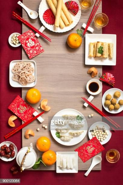 Flat Lay Chinese New Year Food And Drink Still Life Chinese New